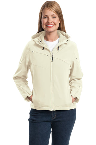Port Authority ®  Ladies Textured Hooded Soft Shell Jacket. L706 - Chalk White/Charcoal