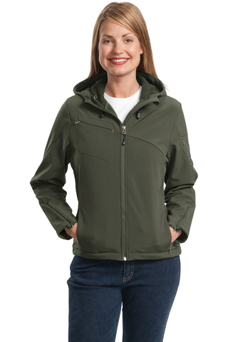 Port Authority ®  Ladies Textured Hooded Soft Shell Jacket. L706 - Mineral Green/Soft Orange