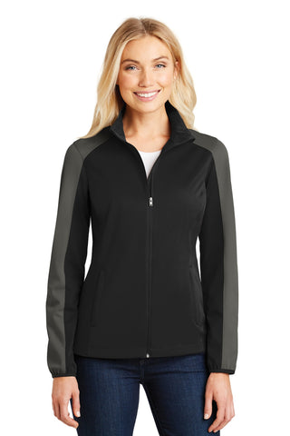 Port Authority ®  Ladies Active Colorblock Soft Shell Jacket. L718 - Deep Black/ Grey Steel