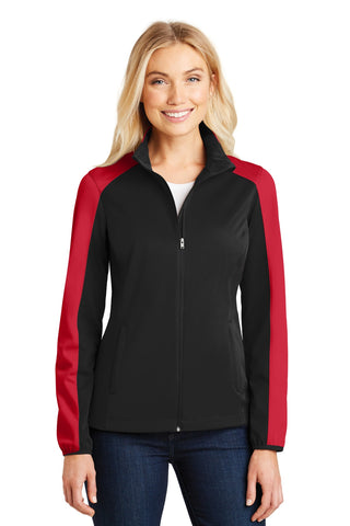 Port Authority ®  Ladies Active Colorblock Soft Shell Jacket. L718 - Deep Black/ Rich Red