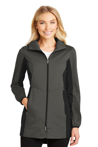 Port Authority ®  Ladies Active Hooded Soft Shell Jacket. L719 - Grey Steel/ Deep Black