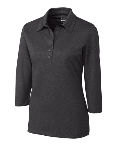 CB DryTec 3/4 Sleeve Chelan Polo - Charcoal Heather