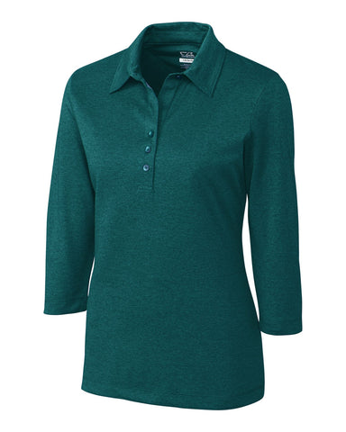 CB DryTec 3/4 Sleeve Chelan Polo - Midnight Green Heather