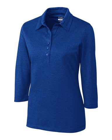 CB DryTec 3/4 Sleeve Chelan Polo - Tour Blue Heather