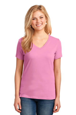 Port & Company ®  Ladies Core Cotton V-Neck Tee. LPC54V - Candy Pink
