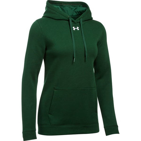 UA W's Hustle Fleece Hoody - Forest Green