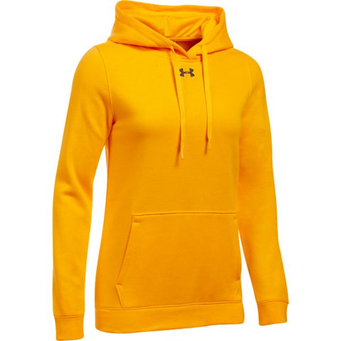 UA W's Hustle Fleece Hoody - Steeltown Gold
