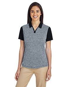 Adidas Ladies' Heather Block Polo - Black