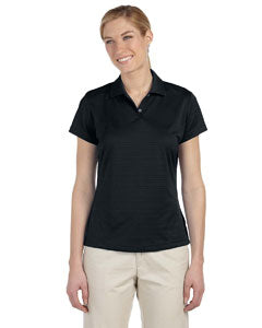 Adidas Ladies' climalite Textured Short-Sleeve Polo - Black