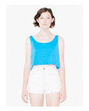 American Apparel Ladies' Poly-Cotton Loose Crop Tank Top - Neon Hthr Blue