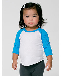 American Apparel Infant Poly-Cotton 3/4-Sleeve T-Shirt - Wht/ Ne Ht Blu
