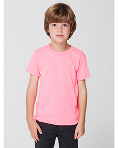 American Apparel Toddler Poly-Cotton Short-Sleeve Crewneck - Neon Hthr Pink