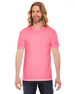 American Apparel Unisex Poly-Cotton Short-Sleeve Crewneck - Neon Hthr Pink