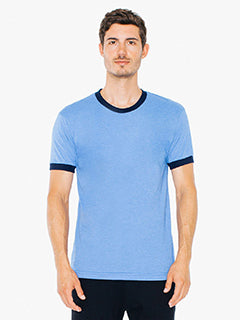 American Apparel UNISEX Poly-Cotton Short-Sleeve Ringer T-Shirt - Hth Lk Blue/ Nvy