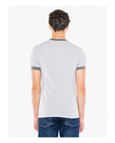 American Apparel UNISEX Poly-Cotton Short-Sleeve Ringer T-Shirt - Hth Grey/ Asphlt