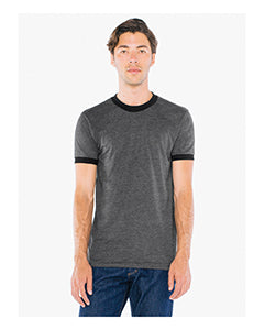 American Apparel UNISEX Poly-Cotton Short-Sleeve Ringer T-Shirt - Hthr Black/ Blk