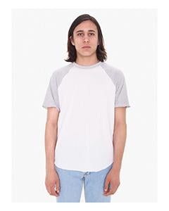 American Apparel Unisex Poly-Cotton Raglan T-Shirt - Wht/ Hthr Grey