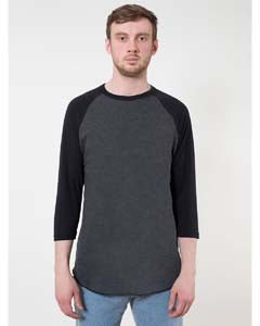 American Apparel Unisex Poly-Cotton USA Made 3/4-Sleeve Raglan T-Shirt - Hthr Black/ Blk