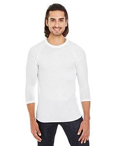 American Apparel Unisex Poly-Cotton 3/4-Sleeve Raglan T-Shirt - White
