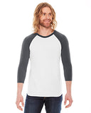 American Apparel Unisex Poly-Cotton 3/4-Sleeve Raglan T-Shirt - White/ Asphalt