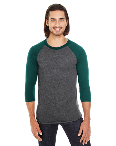 American Apparel Unisex Poly-Cotton 3/4-Sleeve Raglan T-Shirt - Hth Blk/ Forest