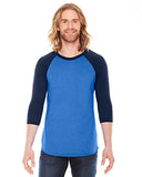 American Apparel Unisex Poly-Cotton 3/4-Sleeve Raglan T-Shirt - Hth Lk Blue/ Nvy