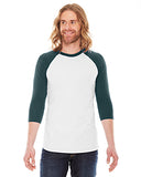 American Apparel Unisex Poly-Cotton 3/4-Sleeve Raglan T-Shirt - White/ Forest