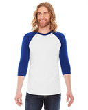 American Apparel Unisex Poly-Cotton 3/4-Sleeve Raglan T-Shirt - White/ Lapis