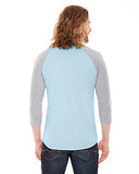 American Apparel Unisex Poly-Cotton 3/4-Sleeve Raglan T-Shirt - Lt Blue/ Hth Gry