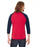 American Apparel Unisex Poly-Cotton 3/4-Sleeve Raglan T-Shirt - Red/ Navy
