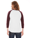 American Apparel Unisex Poly-Cotton 3/4-Sleeve Raglan T-Shirt - White/ Truffle
