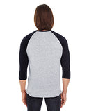 American Apparel Unisex Poly-Cotton 3/4-Sleeve Raglan T-Shirt - Hthr Grey/ Black