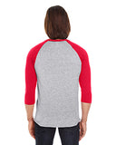 American Apparel Unisex Poly-Cotton 3/4-Sleeve Raglan T-Shirt - Hthr Grey/ Red