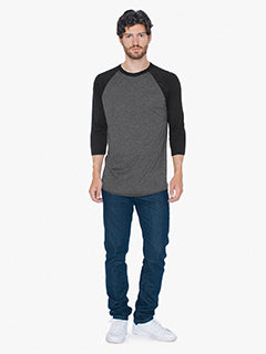 American Apparel Unisex Poly-Cotton 3/4-Sleeve Raglan T-Shirt - Hthr Black/ Blk