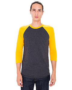 American Apparel Unisex Poly-Cotton 3/4-Sleeve Raglan T-Shirt - Hth Blk/ Gold