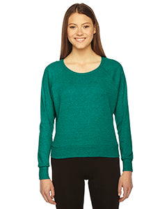 American Apparel Ladies' Triblend Lightweight Raglan Pullover - Tri Evergreen