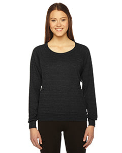 American Apparel Ladies' Triblend Lightweight Raglan Pullover - Tri Black