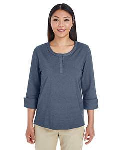 Devon & Jones Ladies' Central Cotton Blend M�lange Knit Top - Navy Heather