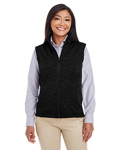 Devon & Jones Ladies' Newbury M�lange�Fleece Vest - Black Heather