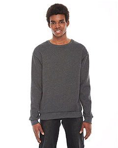 American Apparel Unisex Flex Fleece Drop Shoulder Pullover Crewneck - Dk Heather Grey
