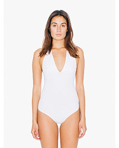 American Apparel Ladies' Cotton Spandex Halter Bodysuit - White