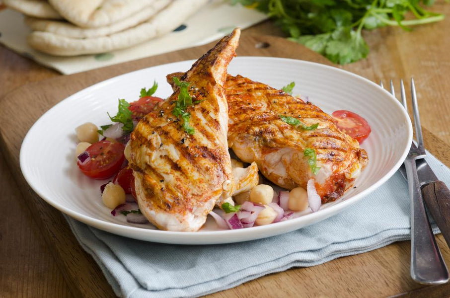 Chicken with Crushed Harissa Chickpeas