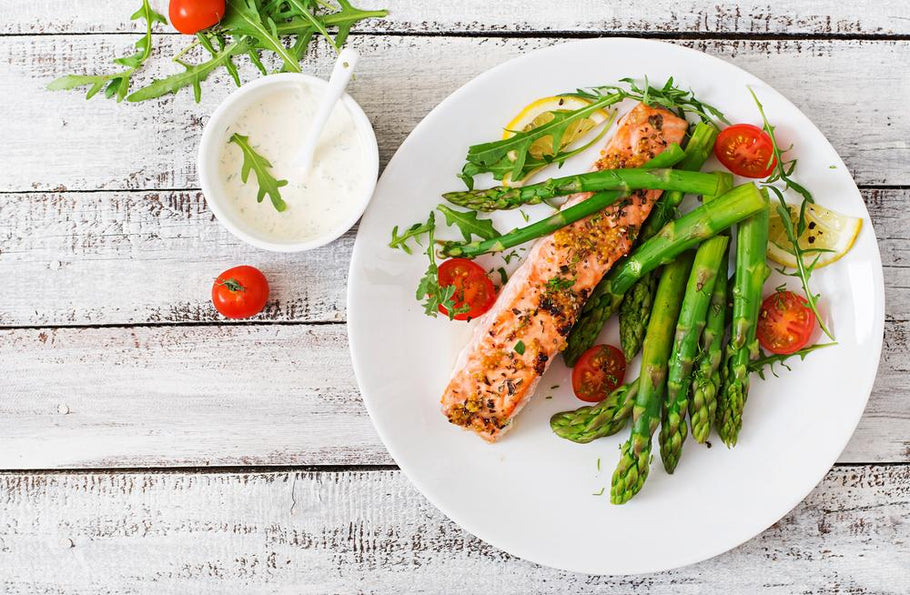One Pan Salmon With Roasted Asparagus