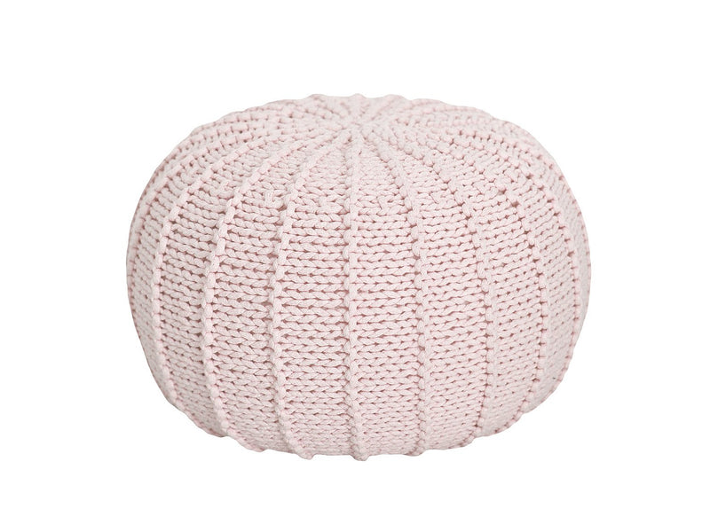Knitted pouffe POWDER PINK-All Products,Pouffes,SHOP,Small pouffes-Zuri House