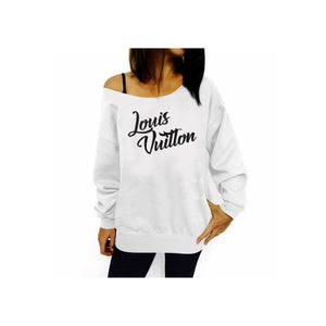 Love LV Off Shoulder White Sweatshirt (Various Colors)