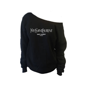 YSL Paris Off Shoulder Sweatshirt