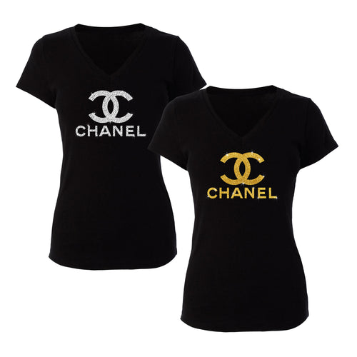 Chanel Inspired Womans Black Shirt (Various Options)