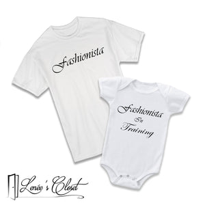 Mommy and Me Fashionista Shirt and Onesie Set