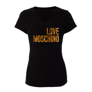 Love Moschino Inspired Metallic Gold Lettering Womans Fitted V-Neck Shirt