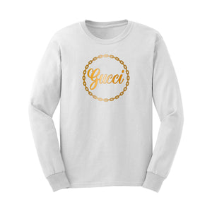 Gucci Unisex White Long Sleeve Shirt with Metallic Gold Lettering